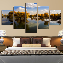 Decor Living Room HD Printed Wall Art Canvas Painting 5 Pieces Tree Lake Blue Sky Landscape Pictures Modular Framework Poster брюки sky lake sky lake mp002xb0079t