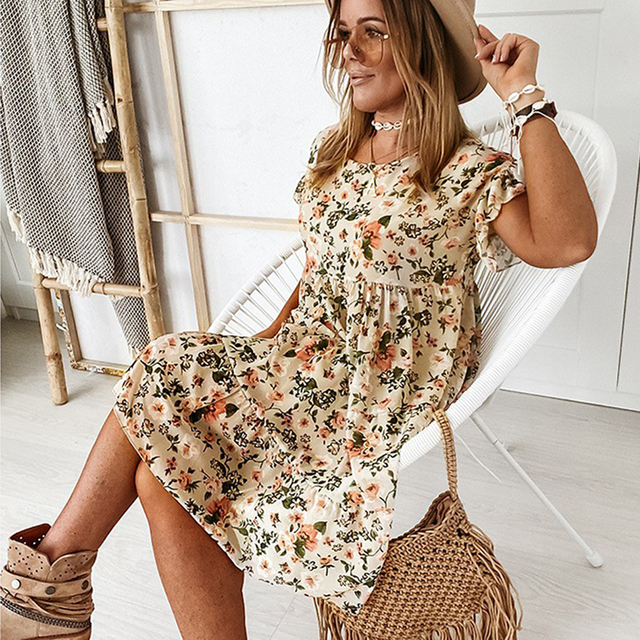Casual Floral Print Summer Dress Boho Short Sleeve Woman Dress Female Loose Ruffles Mini Dresses For Women 2021 Robe Femme 5