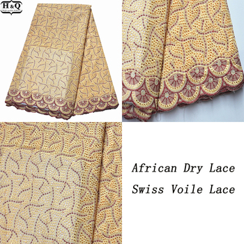 New Arrival Swiss Voile Lace In Switzerland Nigerian Embroidered Lace 100% Cotton African Dry Lace Fabric With Stones For Gown