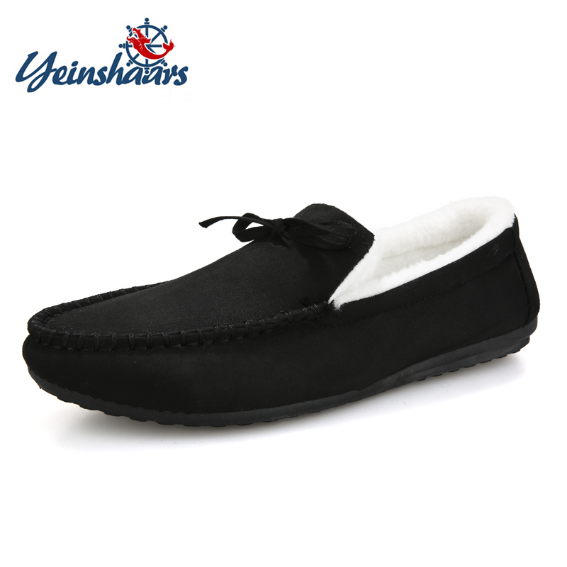 YEINSHAARS New Casual Shoes Winter Fur Men Loafers Slip On Genuine Leather Moccasins Short Plush Warm Driving Shoes