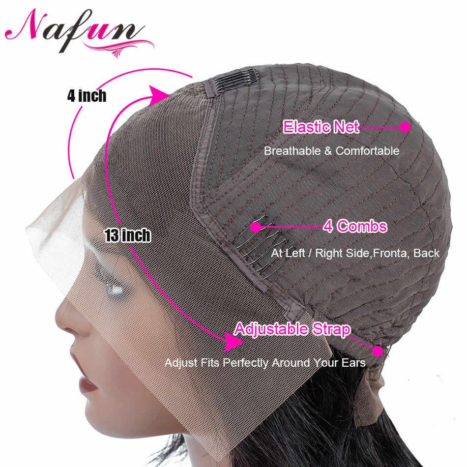 Nafun13x4 koronki przodu włosów ludzkich peruk brazylijski nie Remy peruka z kręconych włosów typu kinky Bob koronki przodu peruki koronkowa peruka średni stosunek 130% gęstości
