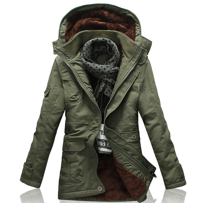 2020 New Winter Khaki Trench Coat For Men Fashion Hooded Windbreaker Fur Lining Warm Winter Mens Overcoat Large Size 5XL Jackets