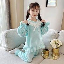 Пижамные комплекты для девочек; Сезон осень зима; Модные детские