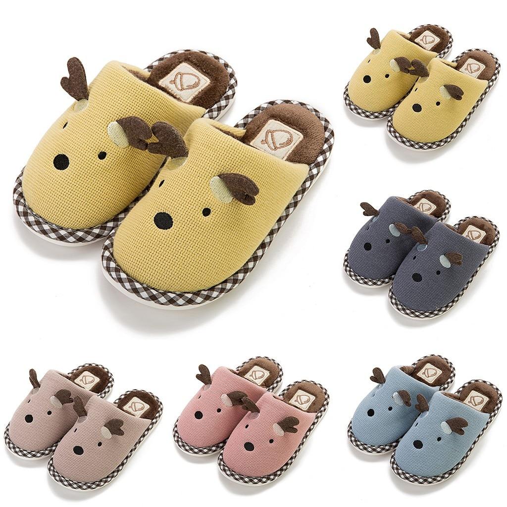Children Kids Baby Winter Warm Shoes Girls Boys Cartoon Deer Winter Warm Home Slipper Casual Anti-slip Lovely Shoes  HOOLER