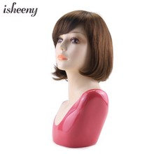 Isheeny Brown Kosher Wig 100g Bob Human Hair Wig With Side Bangs 100% European Virgin Hair Jewish Wig(China)