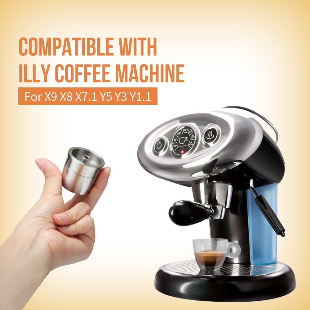 Stainless Steel Reusable Coffee Filter Tamper Set Refillable Capsules Cup Pod Tamper For ILLY X9 X8 X7.1 Y5 Y3 Y3.2 Y1.1(China)