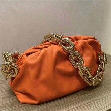 Cadena gruesa bolsa nube mujer 2020 cuero femenino moda temperamento bolso de hombro de alta calidad bolsos de cuero bolsos Louis