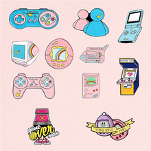 Game Equipment Enamel Pin Pink Blue Game Machine Brooches Denim Jeans shirt Bag Cartoon Fashion Jewelry Gift for Friends Kids game machine enamel pin cartoon pink blue game pad badges brooches denim clothes bag lapel pin jwewlry gift for friends kids