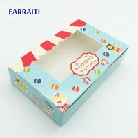 500 Pcs Circus Gift Box With Window Birthday Gift Box Kids Party Candy Cookies Cup Cake Kraft Paper Boxes Packaging Cardboard