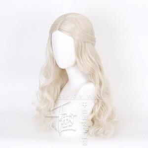 Image 3 - アリスでワンダーランド2白の女王コスかつらブロンド波状ロング人工毛耐熱性繊維ハロウィーンパーティー衣装かつら