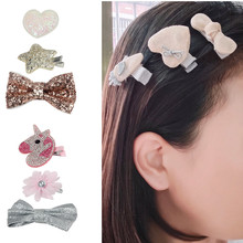 3Pcs/lot Hair Clips for Girls Cartoon Glitter Bows Hairpins Princess BB Barrettes Girl Kids Accessories