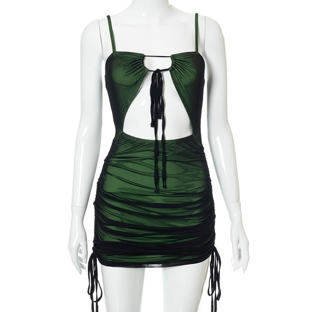 Women Sexy Black Mesh Patchwork Bodycon Mini Dress Spaghetti Strap Cut Out Green Dress Lace Up Ruched Slim Robe 2021 Summer 6