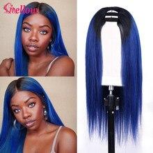 Straight U-Part Human Hair Wigs Brazilian Straight U Part Wig Human Hair Closure Wigs 100% 1b/Blue Human Hair Wigs