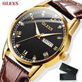 OLEVS Watch Men Brown Leather Quartz Auto Date Calendar Original Brand Waterproof Business Wristwatch Fashion Male