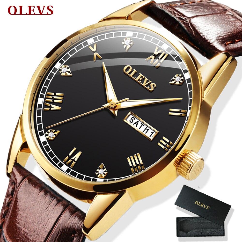 OLEVS Watch Men Brown Leather Quartz Auto Date Calendar Original Brand Waterptoof Business Wristwatch Fashion Male