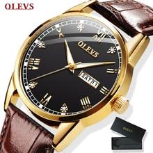 OLEVS montre hommes marron cuir Quartz Auto Date calendrier Original marque étanche affaires montre bracelet mode homme