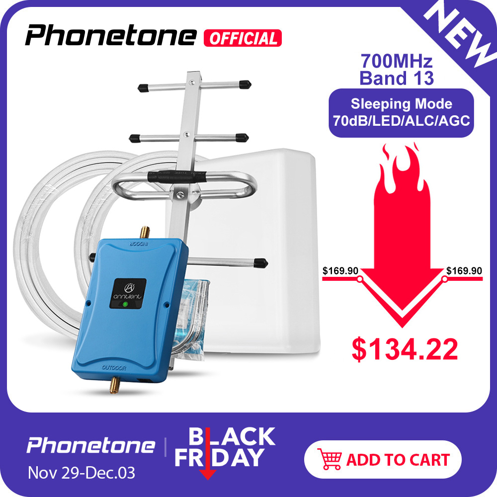 For US/CA 4G LTE 700MHz Band 13 Cell Phone Signal Booster 70dB LTE Cellular Repeater 4G Amplifier Booster & Panel +yagi Antenna