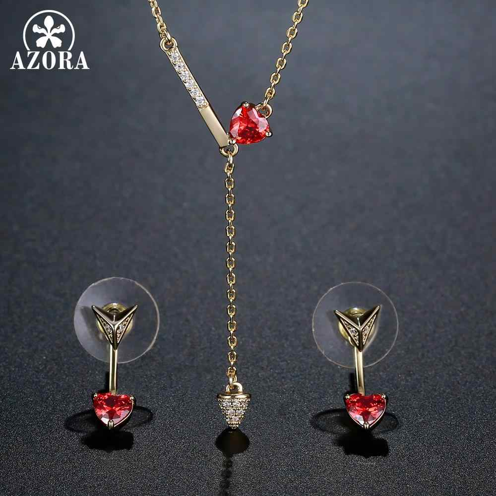 AZORA classique mariage coeur coupé rouge cubique zircone ensemble de bijoux couleur or Fine collier boucles d'oreilles accessoire cadeau 2019 nouveau TG0279