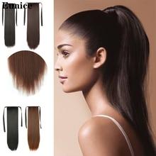 Длинные прямые накладные волосы на заколках с хвостом, накладные волосы с заколками, синтетические накладные волосы с конским хвостом