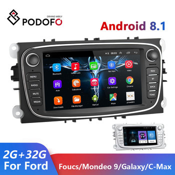 Podofo Android 8.1 Car Radio GPS 2 Din Car Multimedia Player 2+32G For Ford/Focus EXI MT 2 3 Mk2/Mk3/S-Max/Mondeo 9/Galaxy C-Max image
