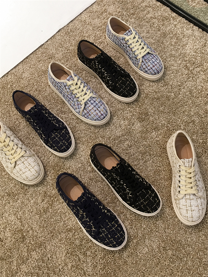 Leisure Shoes Women Fashion 2020 Spring Customer Tweed Ladies Flats Sweet Female Lace Up Casual Shoes Zapatos De Mujer