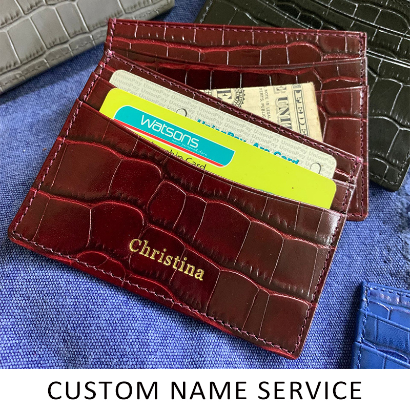 Hiram Beron Genuine Leather Card Holder Men Cow Leather With Crocodile Pattern Wallet Free Custom Name ID Credit Card Wallet title=