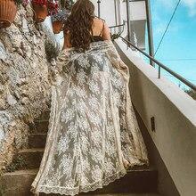 Peachtan Vintage transparent couverture ups 2020 à manches longues en mousseline de soie robe de plage femmes broderie plage vêtements blanc maillot de bain couverture ups