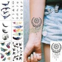 Fashion Colorful Flowers Tattoo Women New Waterproof Temporary Black Tattoo Sticker Body Art Hand Foot for Girl Women Men