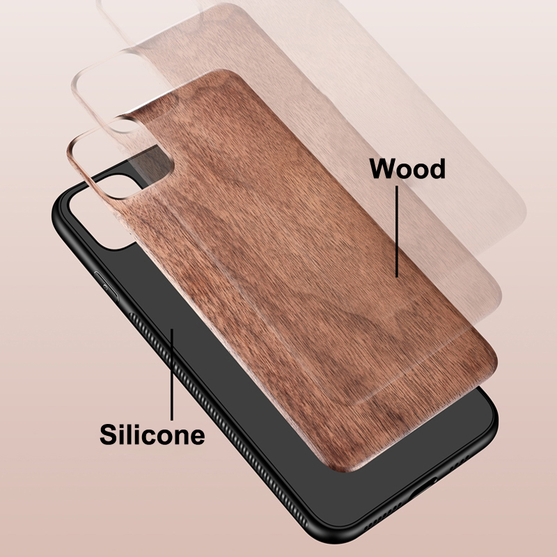 Real Wooden Hard Shockproof Back Cover Case with Wood Lanyard for iPhone 12 Pro