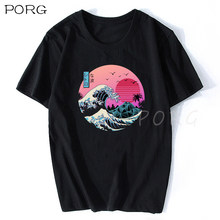 A grande onda retro japão anime camiseta ulzzang harajuku streetwear algodão hombre homem vaporwave engraçado legal t camisa 3d