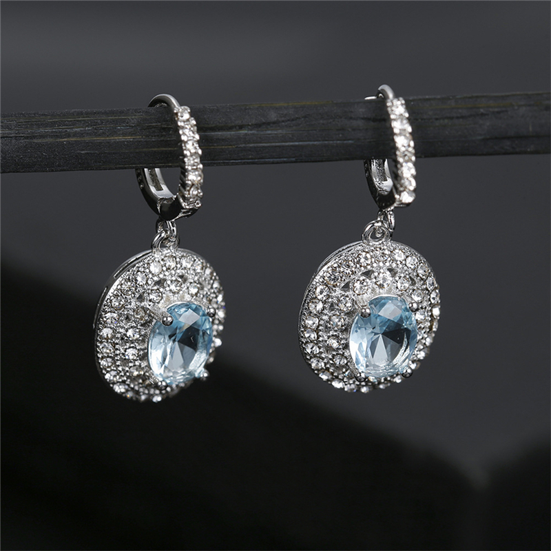 Korean Earrings Elliptical Wedding Engagement Drop Big Circle Earring Crystal Womens Fashion Droplet Dangle