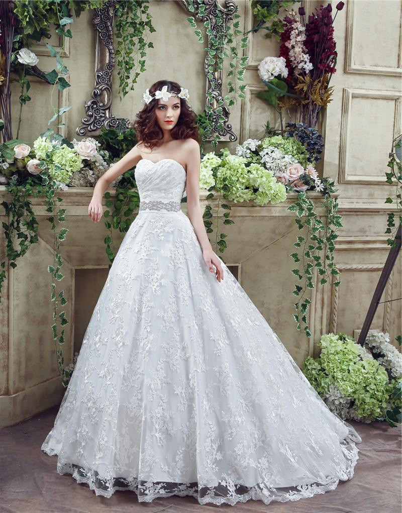 Vintage Garden A Line Lace Sleeveless Bridal Wedding Gowns Sweetheart Beading Bow Sash Wedding Dresses for Bride Sweep Train
