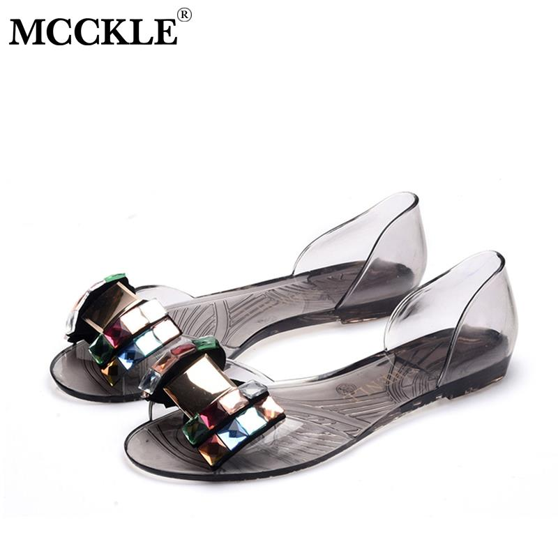 MCCKLE 2020 Women Slip On Flat Sandals Woman Summer Peep Toe Transparent Bling Sandals Female Fashion Beach Jelly Shoes