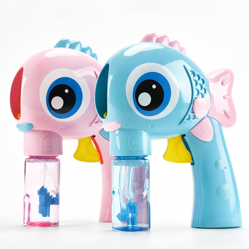 Outdoor Electric Kids Toys For Children Cartoon Fish Soap Blowing Bubbles Gun Machine Water Bubble Maker Hot