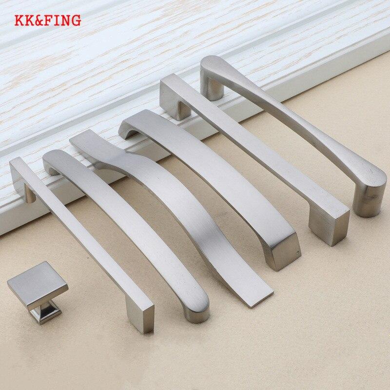 KK&FING Modern Cabinet Handles Drawer Knobs Aluminum Alloy Kitchen Door Brushed Pulls Furniture Handle Hardware
