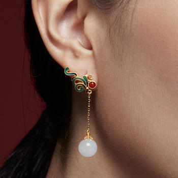 Real 14K Gold Jewelry White Pearl Earring Jewelry K-Gold Jewelry