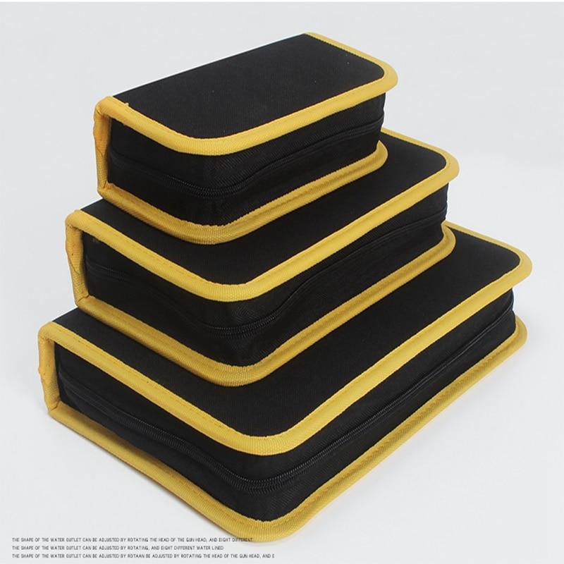 CAMMITEVER Borsa per attrezzi con bordi gialli Elettricista Riparazione della tela Saldatore Scalpello Rotolo Utensili elettrici Borsa multiuso Tasca