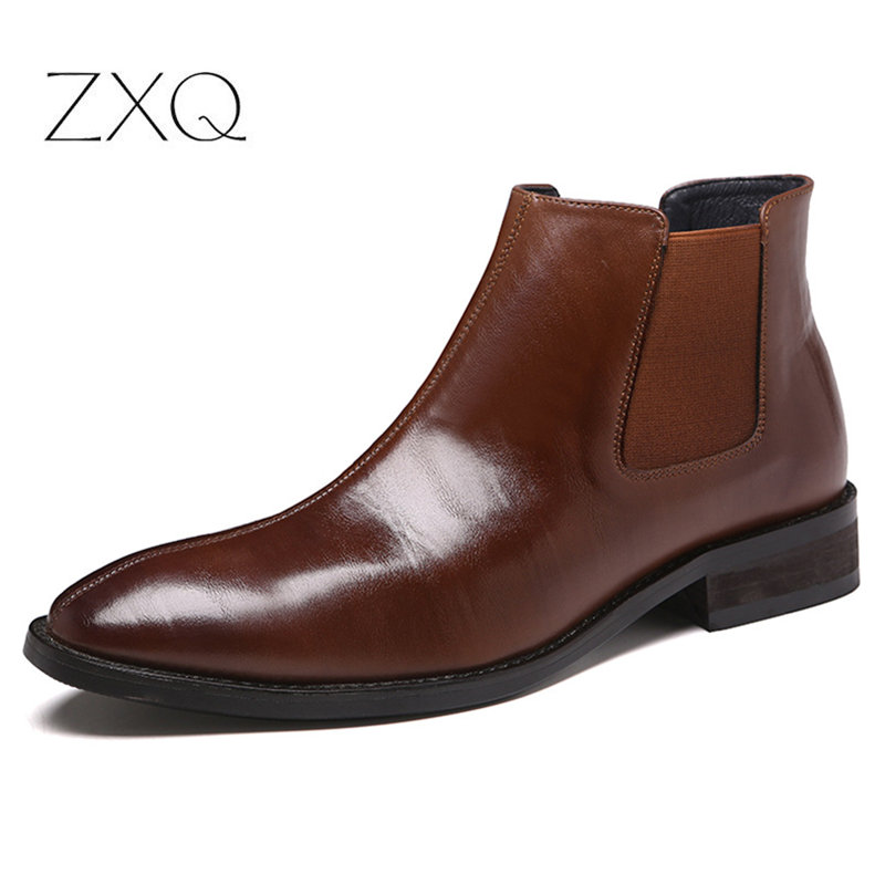 Autumn Winter Men's Chelsea Boots Leather Casual Shoes Male British Style Slip-on Wedding Dress Short Boot For Man