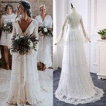2020 레이스 Boho 웨딩 드레스 긴 소매 a 라인 Backless 스윕 기차 Pleats 비치 신부 가운 신부 드레스 Vestido de noiva