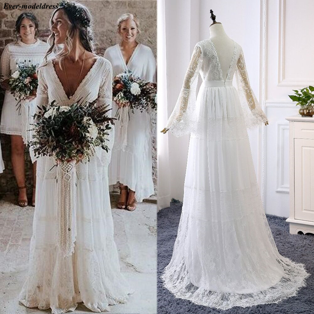 2021 Lace Boho Wedding Dresses Long Sleeves A-Line Backless Sweep Train Pleats Beach Bridal Gowns Bride Dress Vestido de noiva
