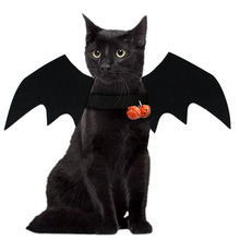 Cat Halloween Costume Cat Bat Wings - Pet Bat Costume Dress Costume Outfit Wing for Small Dogs and Cats with 2 Pcs Pumpkin Bell plus size halloween cat bat pumpkin print dress