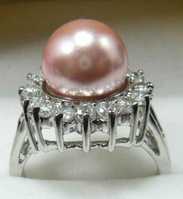 Fine 10 มม.สีน้ำตาล SHELL Pearl ลูกปัด 18KGP แหวน (#6,7,8,9)