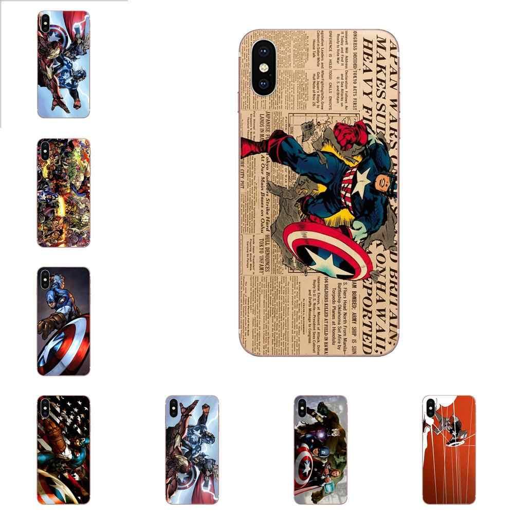 Для Apple iPhone 4 4S 5 5C 5S SE 6 6S 7 8 Plus X XS Max XR ТПУ чехлы для телефонов Ретро комикс Капитан Америка