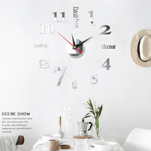 3D nowoczesny zegar ścienny naklejki zegar ścienny DIY 3d lustro ozdobne naklejka na powierzchnię dekoracje do domowego biura ścienne dekoracja zegara rzemiosło tanie tanio CN (pochodzenie) Nowoczesne circular Akrylowe 40cm Pojedyncze twarzy 400mm 100g Cyfrowy Wyciszenie głośnika Salon Oddziela