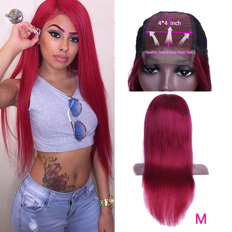 Soph Queen 4*4 Lace Closure Straight Human Hair Wigs Media Ratio Burgundy 99J 1B/27 Peruvian Non-Remy Wig Pre Plucked Hairline