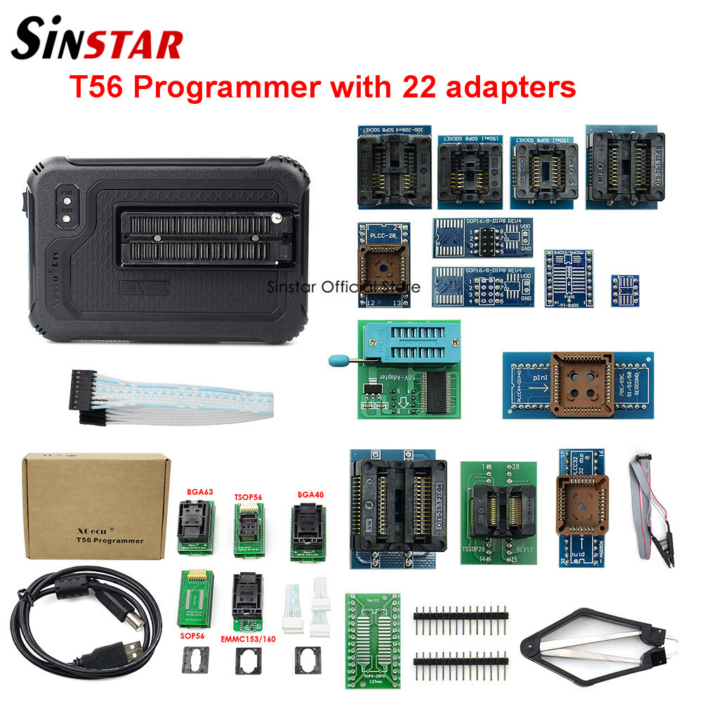 XGecu T56 Programmer 56 Pin Drivers ISP Support 21000+ with 22 adaptersCalculators   -
