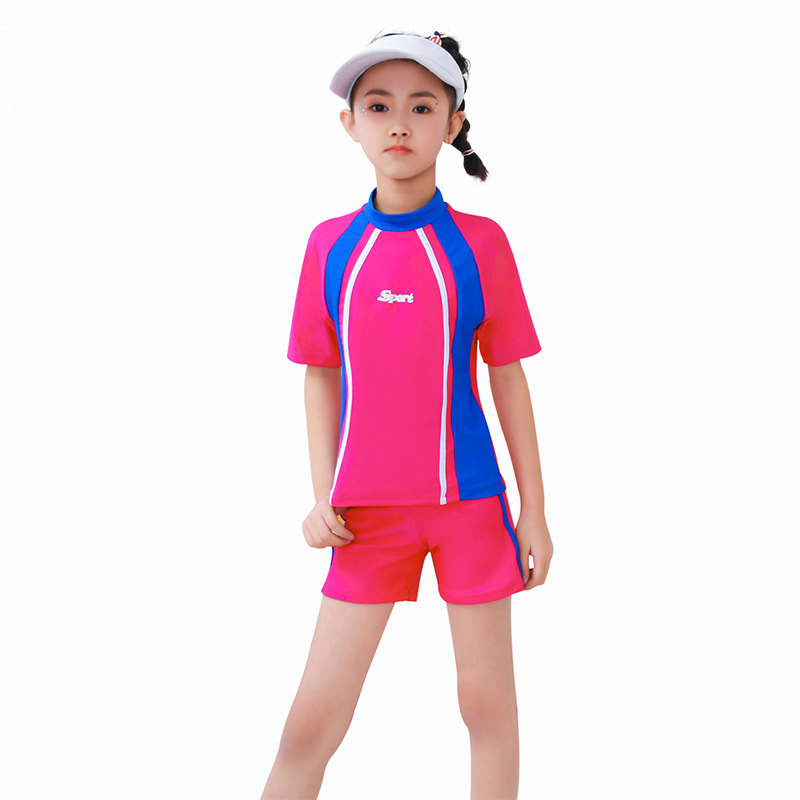 2019 New Style Split Type Half Sleeve Boxer Panels Bar Training Sun-resistant Middle And Large CHILDREN'S Swimwear Women's