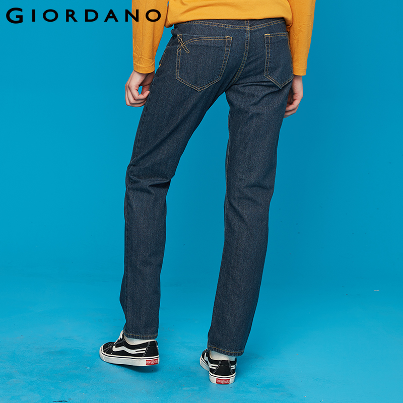 Giordano Men Jeans Denim Elastic Mid Rise Narrow Feet Quality Cotton Soft Pantalones Cortos Whiskering Denim Clothing