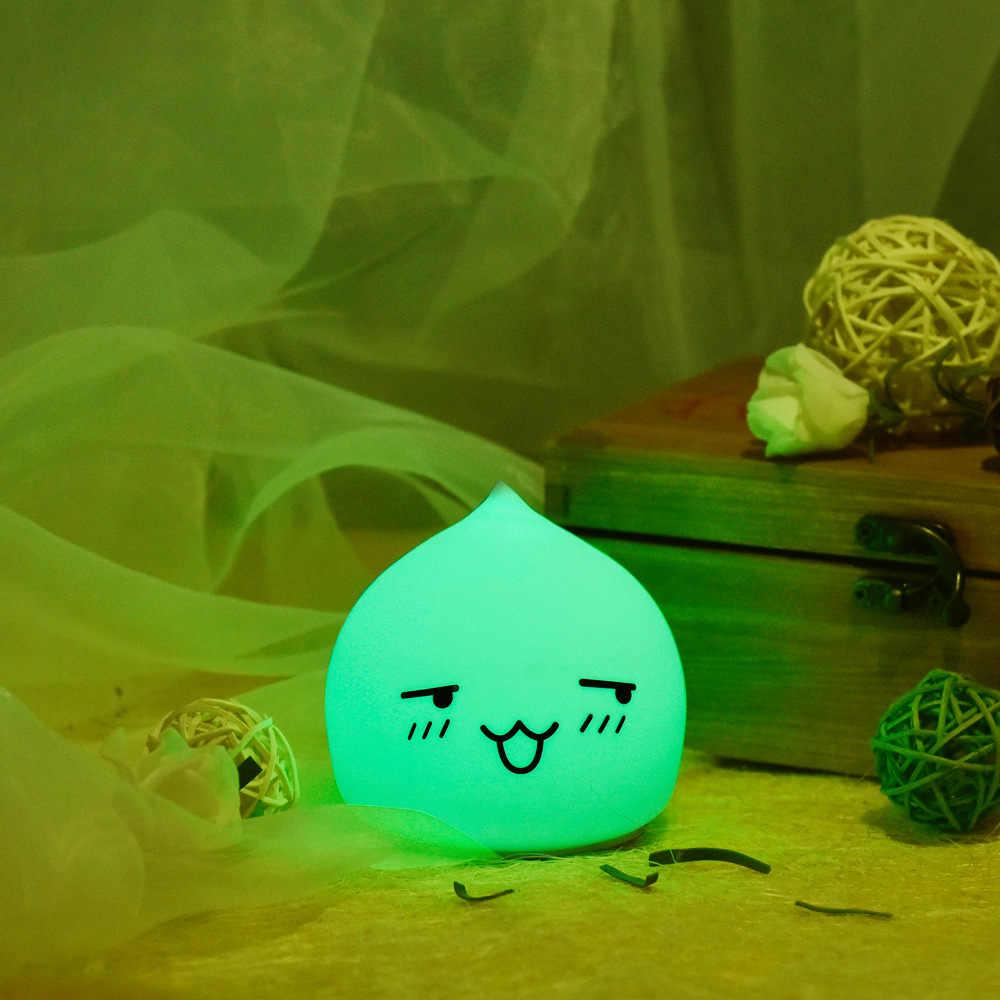 Новый список Прекрасный 7 цветов капли воды ночник силиконовый мягкий детский подарок светодиодный нажимной светильник Рождественский подарок мультяшный светильник