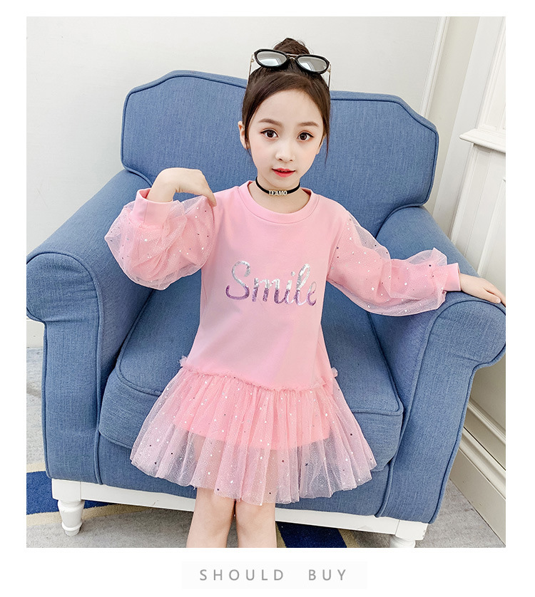 Boutique Kid Clothing 2020 Spring Little Girls School Dress Cotton O neck Sweater Dress Pink Long Sleeve Letter Dresses for Teen (1)